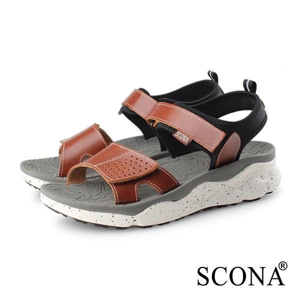 SCONA 蘇格南 真皮 運動休閒舒適涼鞋 淺咖色 31114-2