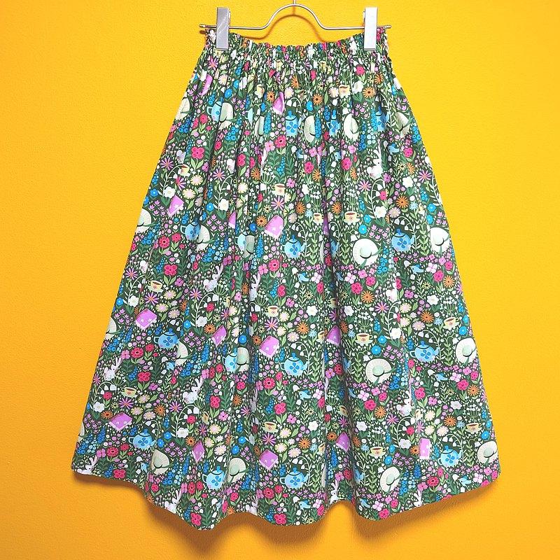 花田中的下午茶時間裙子/均碼/美國面料/日本製造