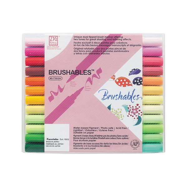 Kuretake 日本吳竹 ZIG 雙色軟筆刷麥克筆 24色套組 / 盒 MS-7700-24V