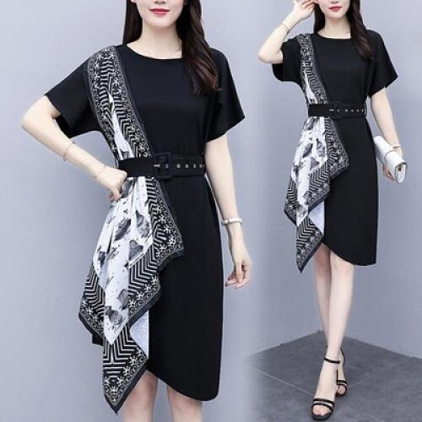 洋裝裙子圓領中大尺碼L-5XL新款大碼寬鬆氣質復古絲巾拼接連身裙4F004-9095.一號公館