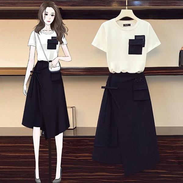 套裝裙上衣T恤半身裙L-4XL中大尺碼時尚減齡T卹顯瘦遮肉兩件式4F082.8877一號公館