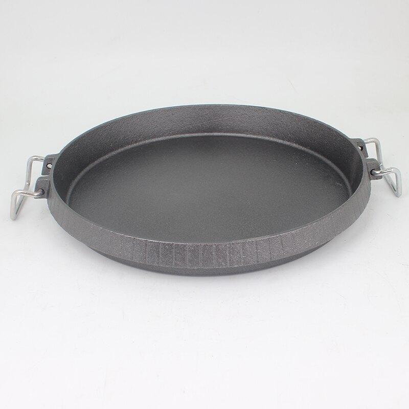 鐵板盤 鑄鐵韓式烤肉盤烤盤鐵板燒鐵板盤商用圓形家用燒烤盤韓式烤肉鍋