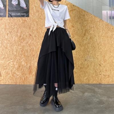 暗黑風不規則拼接網紗半身裙-F-CLORI