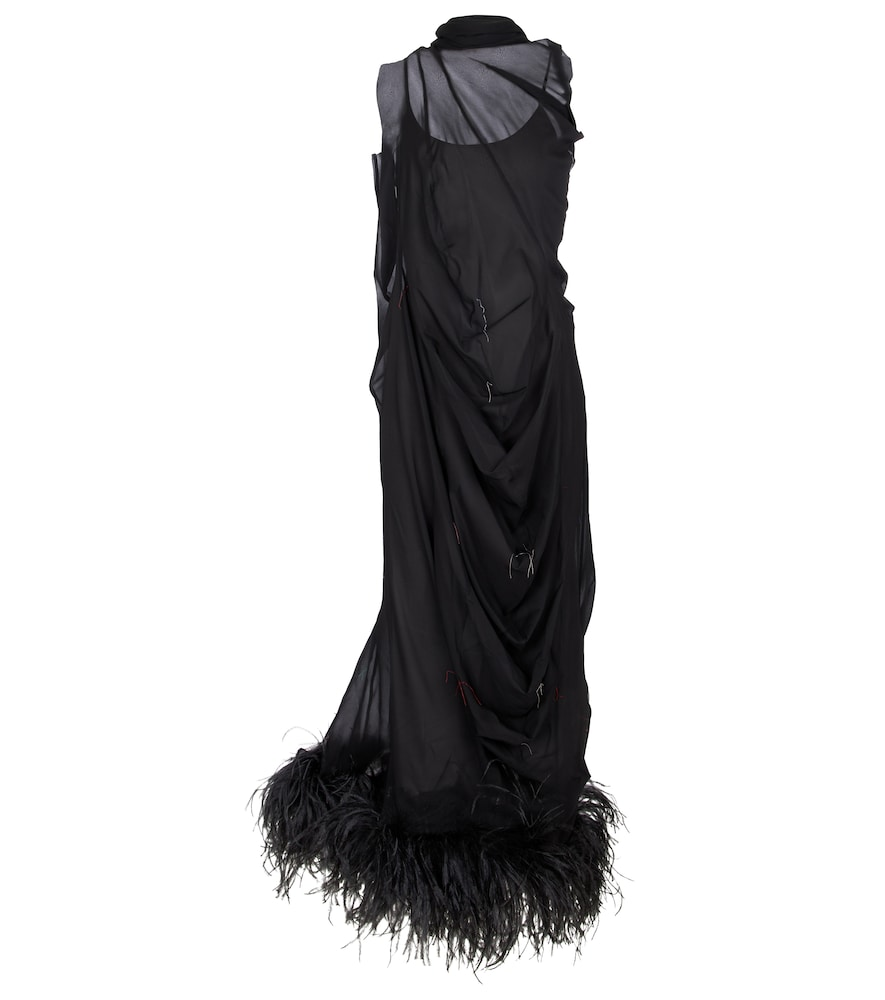 Feather-trimmed stretch-silk gown