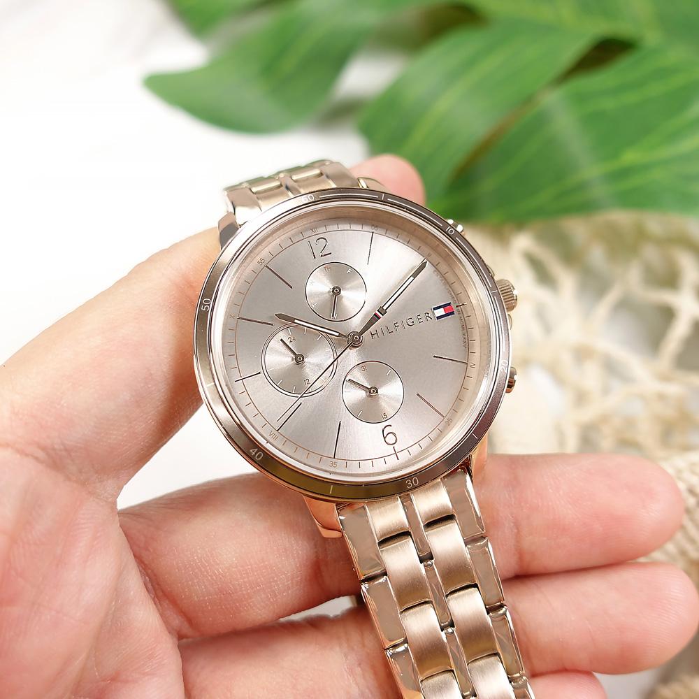 TOMMY HILFIGER / 1782190 / 三眼三針 優雅迷人 礦石強化玻璃 星期日期 不鏽鋼手錶 鈦色x鍍玫瑰金 38mm