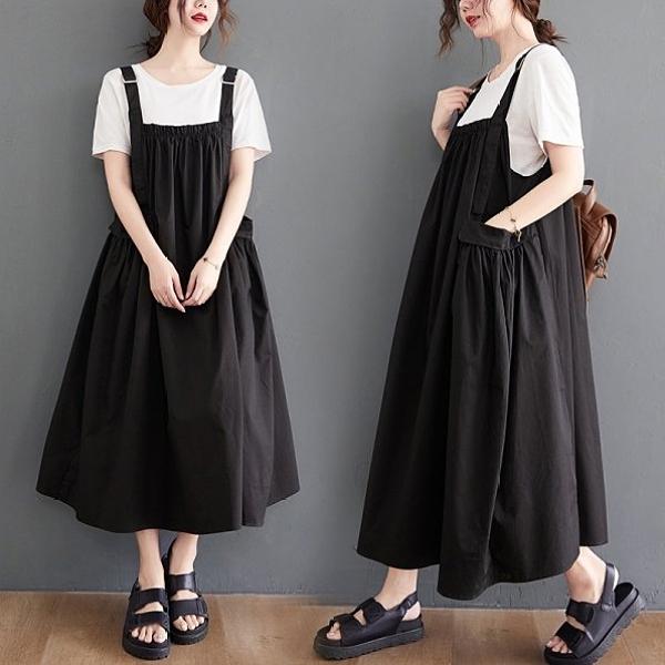 背心裙無袖洋裝吊帶裙背帶裙百搭顯瘦大擺裙褶皺拼接中長連身裙MC051B.3163莎菲娜
