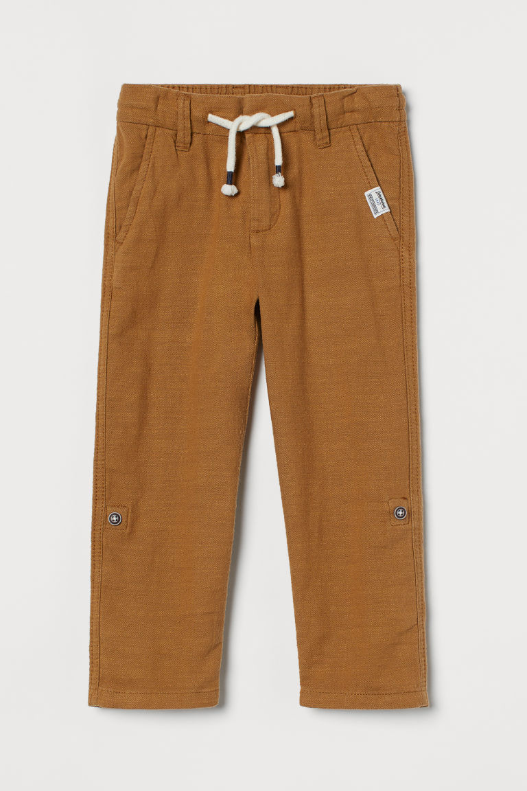 H & M - 直筒斜紋長褲 - 米黃色