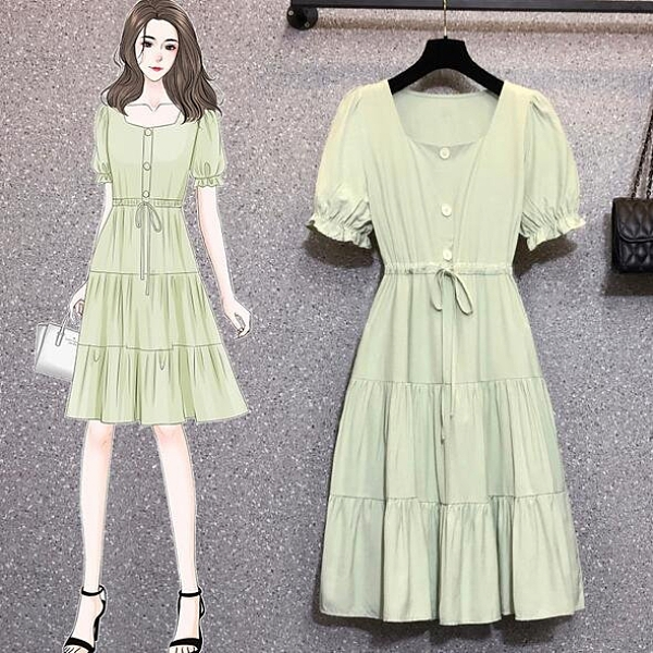 洋裝短袖裙子中大尺碼L-4XL新款洋氣顯瘦遮肚收腰連身裙4F093-18163.胖胖唯依