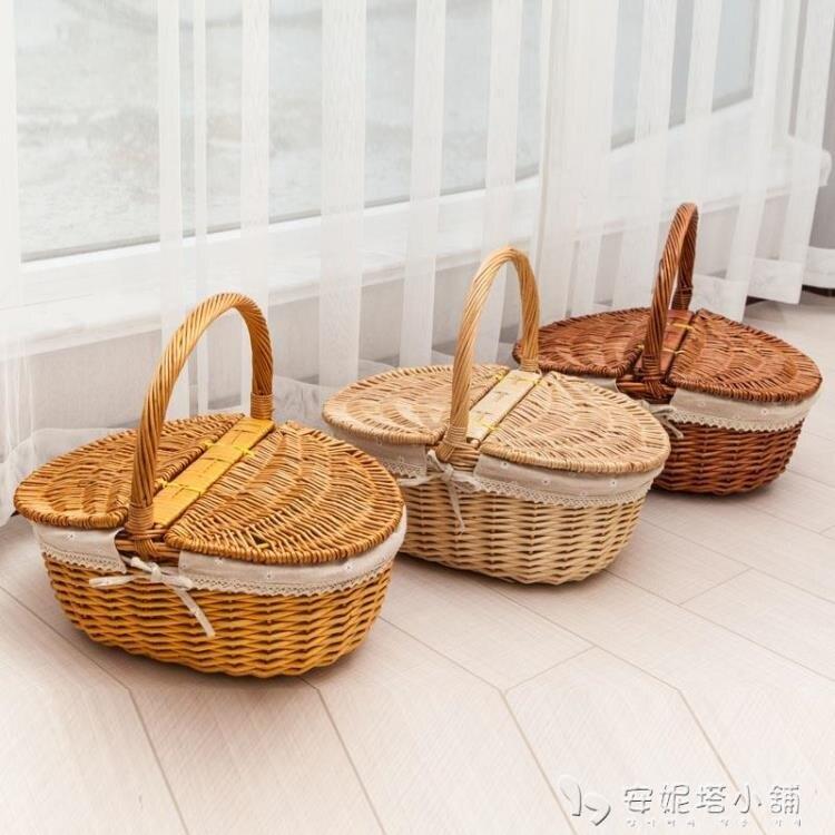 收納籃野餐籃子帶蓋藤編手提籃田園編織保潔籃禮品水果購物花籃