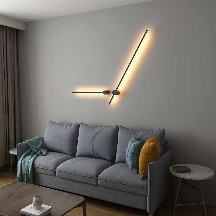 極簡現代北歐壁燈線條創意LED長條臥室床頭燈客廳背景墻燈具