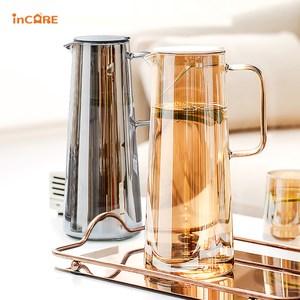【Incare】北歐風耐冷熱玻璃冷水壺1800ml(兩款任選)琥珀色