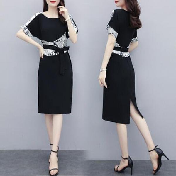 洋裝圓領裙子中大尺碼L-5XL新款胖妹妹時尚優雅氣質寬鬆顯瘦連身裙R026-6206.一號公館