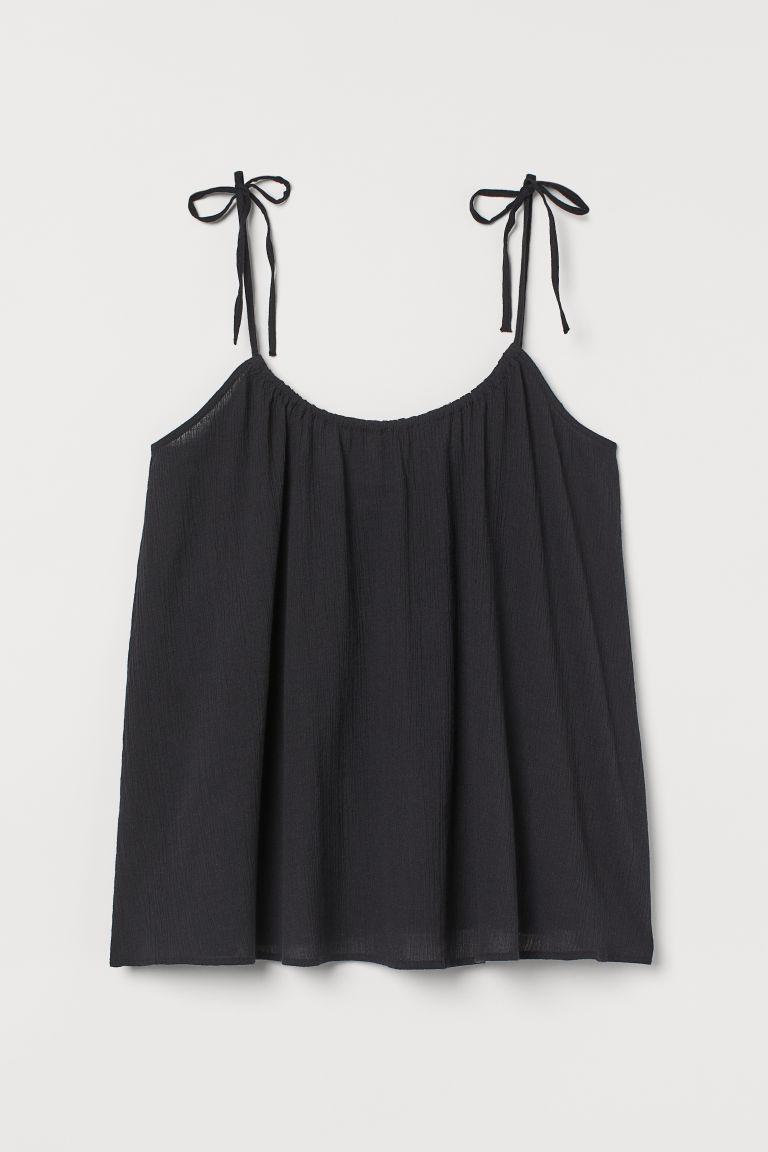 H & M - 褶縐上衣 - 黑色