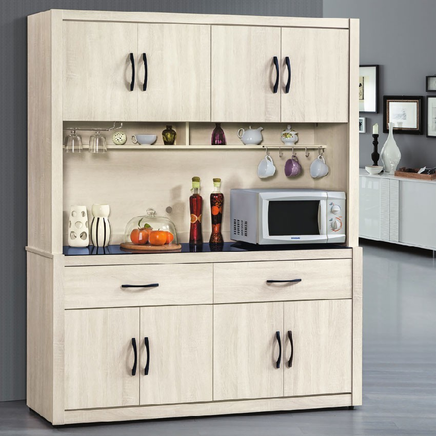 158cm碗碟櫃-e713-6伸縮餐桌櫃  尺餐櫃收納 廚房櫃 餐櫥碗盤架 中島大理石 金滿屋
