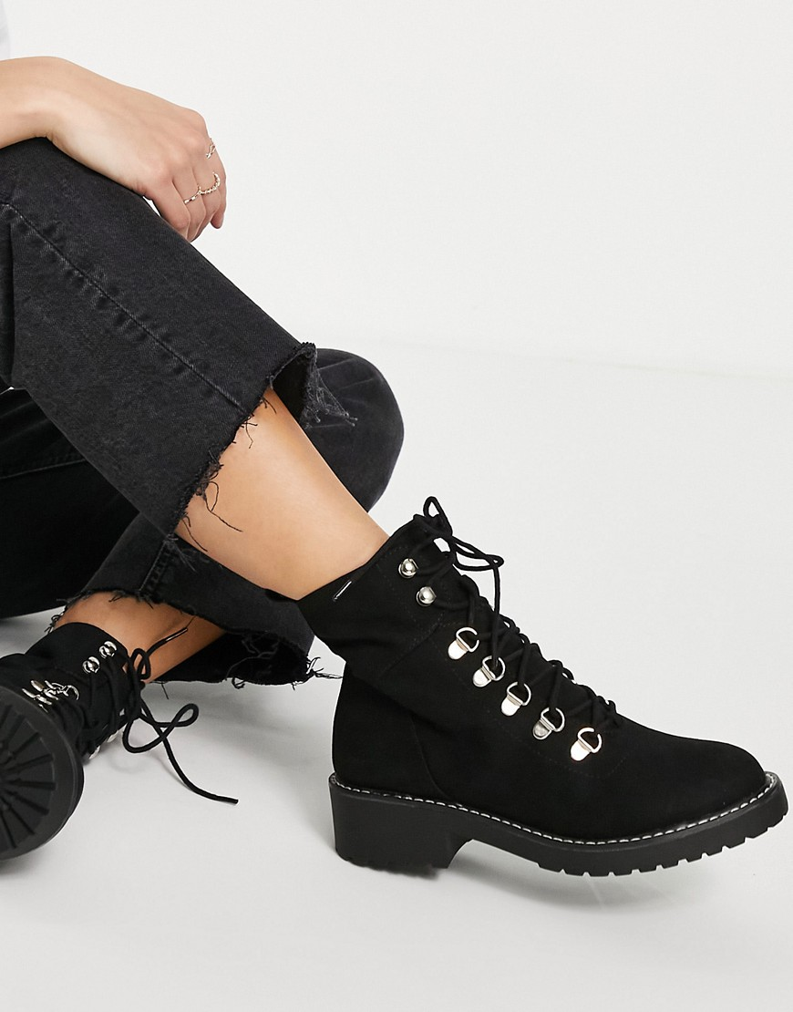 London Rebel chunky hiker boots in black