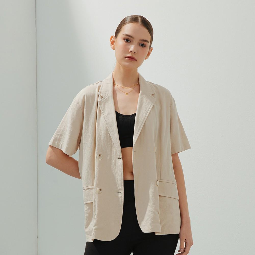 CACO-質感棉麻西裝外套-女【B2SH086】