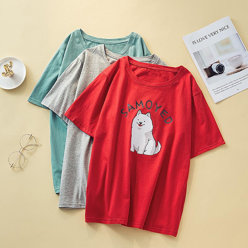 M-4XL大尺碼衣著 2021短袖t恤女夏韓版加肥加大碼胖mmT恤印花寬鬆顯瘦圓領上衣