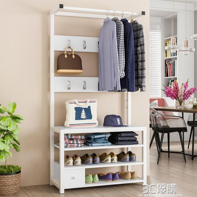 衣帽架換鞋凳一體多功能置物架門廳掛衣架家用鞋柜收納進門口鞋架 優尚良品