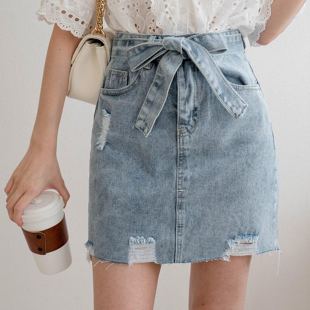 MIUSTAR 貼心加長 附綁帶刷破牛仔短裙(共1色,S-XL)裙子 0420 預購【NJ1018】