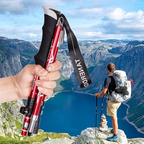 登山杖手杖伸縮摺疊男女款防滑拐杖老人爬行山裝備戶外輕便攜隨身 艾瑞斯「快速出貨」