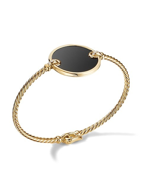 DY Elements® Bracelet In 18K Yellow Gold With Black Onyx & Pavé Diamonds