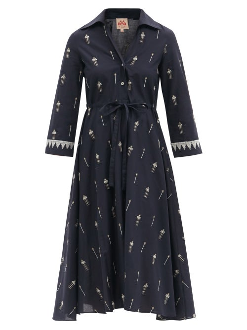 Le Sirenuse, Positano - Lucy Floral-embroidered Cotton Midi Shirt Dress - Womens - Navy