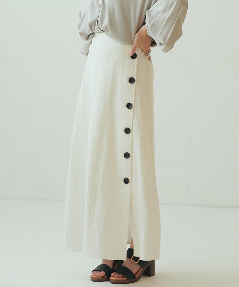 清新棉麻排釦長裙