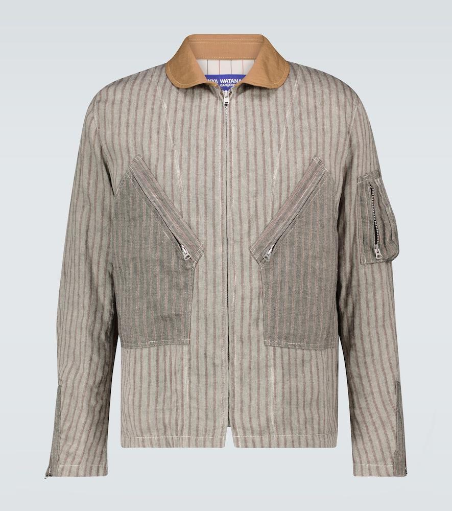 Striped linen-blend jacket