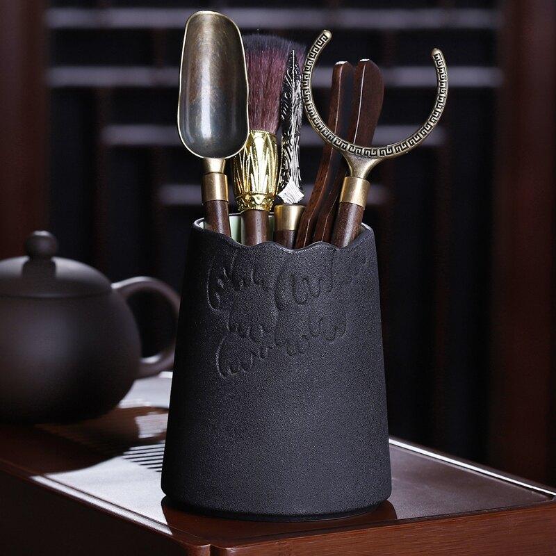 茶刀黑檀茶道六君子套裝功夫茶具配件6君子泡茶工具茶夾茶針茶刀