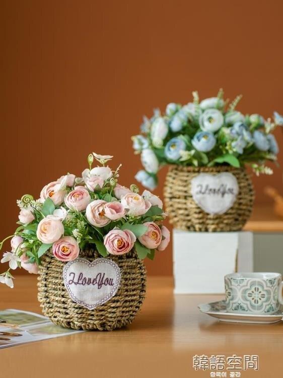 小清新仿真假花束客廳擺設擺件裝飾品絹花藝餐桌內茶幾干花小盆栽