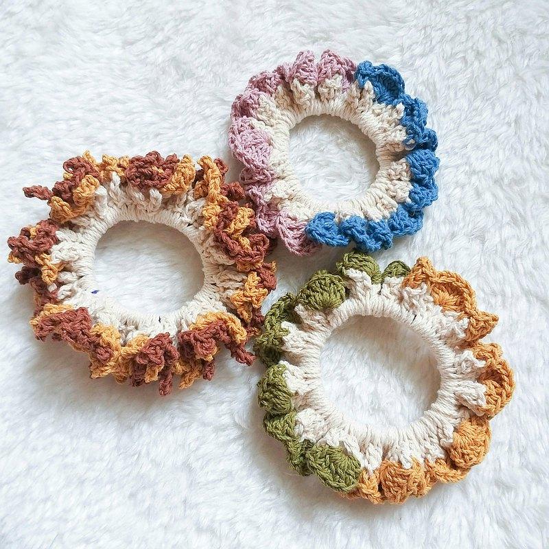 鉤針編織課 文青風 雙色造型髮圈 花心造型 / 波浪花邊造型