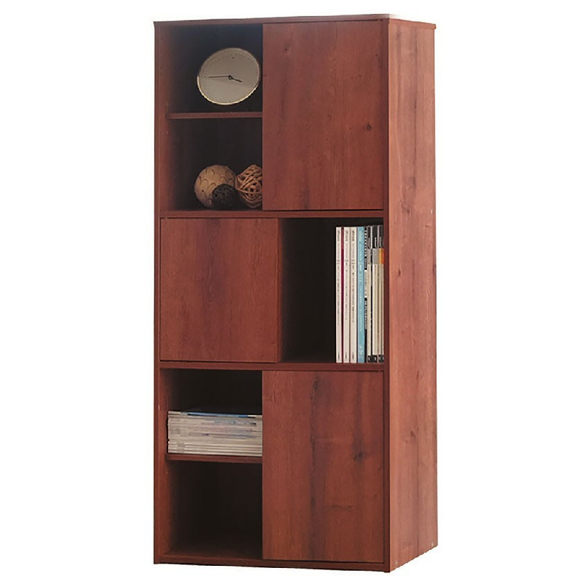 59cm多色三門六格書櫃-e637-3北歐工業 置物櫃 玻璃實木 書房書櫃書架 櫥櫃 層架收納整理