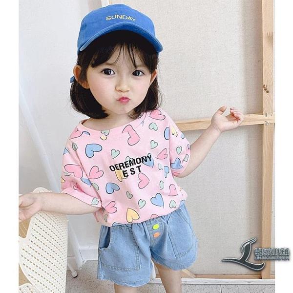 女童短袖T恤童裝女孩洋氣上衣兒童夏季打底衫女寶寶單T【邻家小鎮】