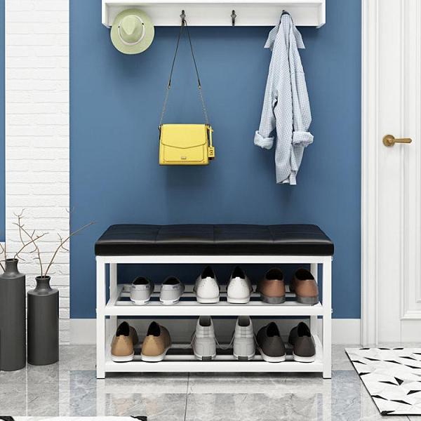鞋櫃 家用門口休息換鞋架簡易多層儲物鞋柜可坐鐵藝軟包多功能穿鞋凳子