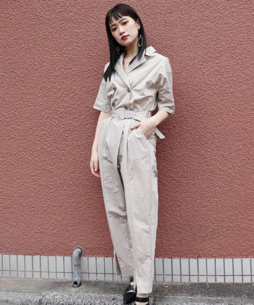 風衣式造型連身褲