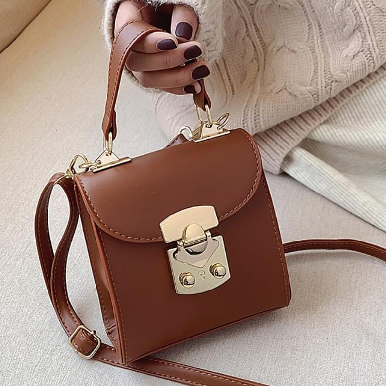 韓國空運 - Cent Buckle Square Mini Shoulder Leather Bag 肩背包