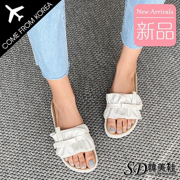 韓國空運 荷葉邊綁帶造型 吸震Q彈美體鞋墊 4cm厚底涼拖鞋【F713253】版型正常/SD韓美鞋
