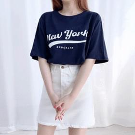 韓國空運 - Loose-fit English Emotional Lettering Short Sleeve Tee 短袖上衣