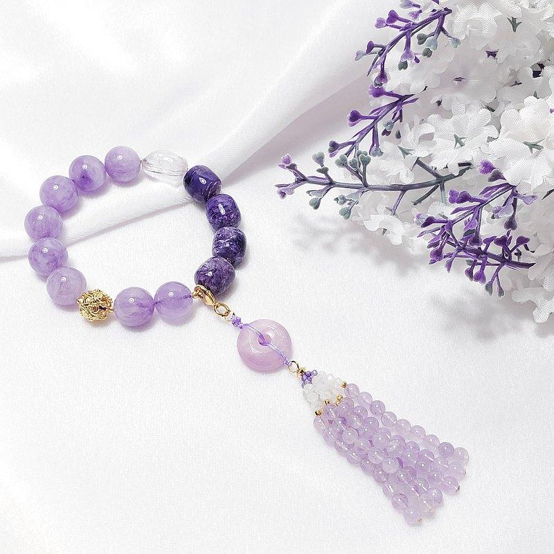 天然 紫龍晶 紫鋰輝 薰衣草紫水晶 平安扣 流蘇 隨意扣 手鍊 單品