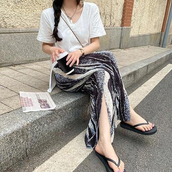 裙子休閒褲輕薄舒適中大尺碼L-5XL長褲開叉顯瘦高腰闊腿褲4F087.3672依品國際