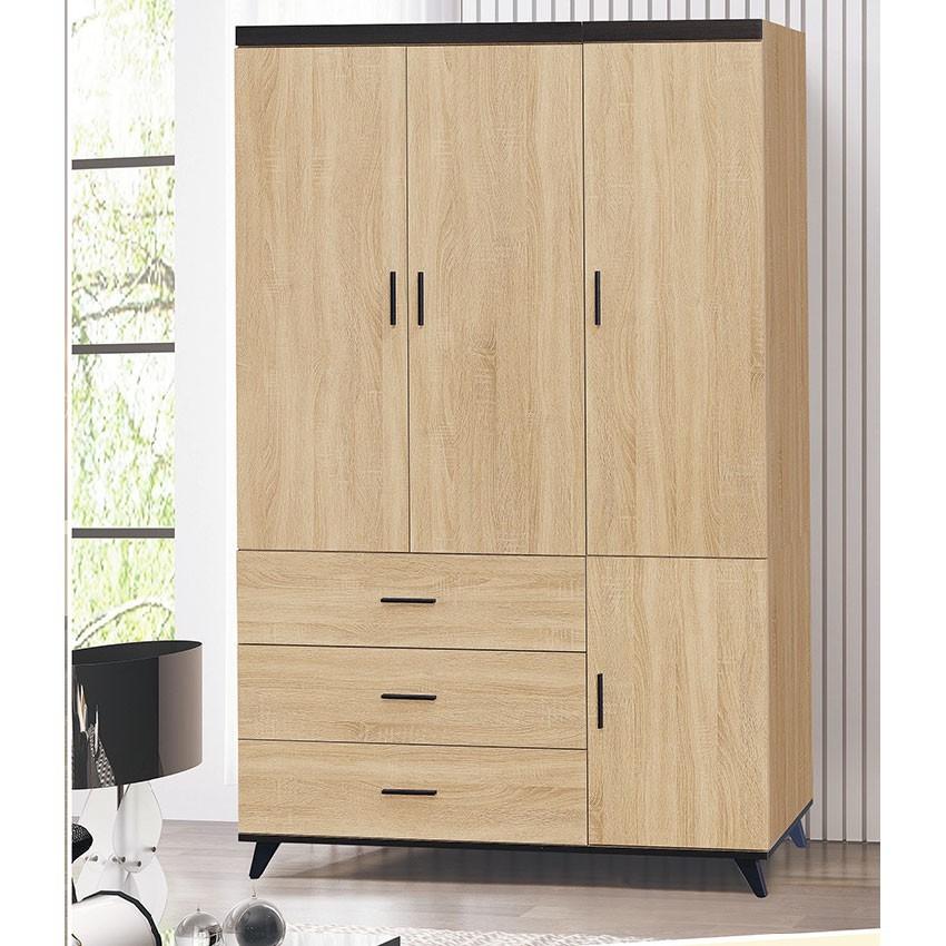 120cm三抽一門衣櫃-k19-120木心板 推門滑門開門 衣服收納 免組裝 金滿屋
