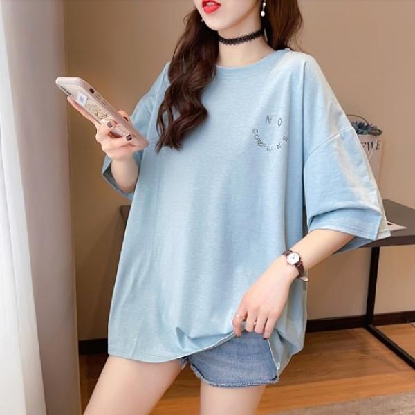 上衣 寬鬆 個性M-2XL中大尺碼燙鑽刺繡寬鬆中長款短袖T恤NE416.1512韓依紡