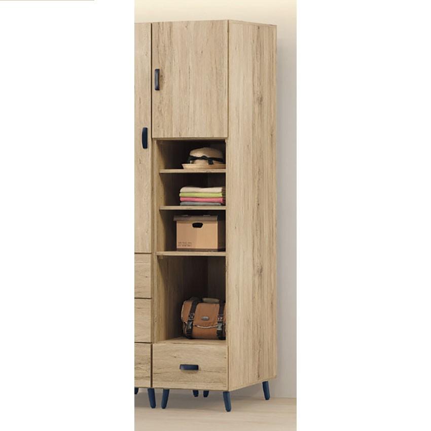 46cm一門一抽衣櫃-k24-80木心板 推門滑門開門 衣服收納 免組裝 金滿屋