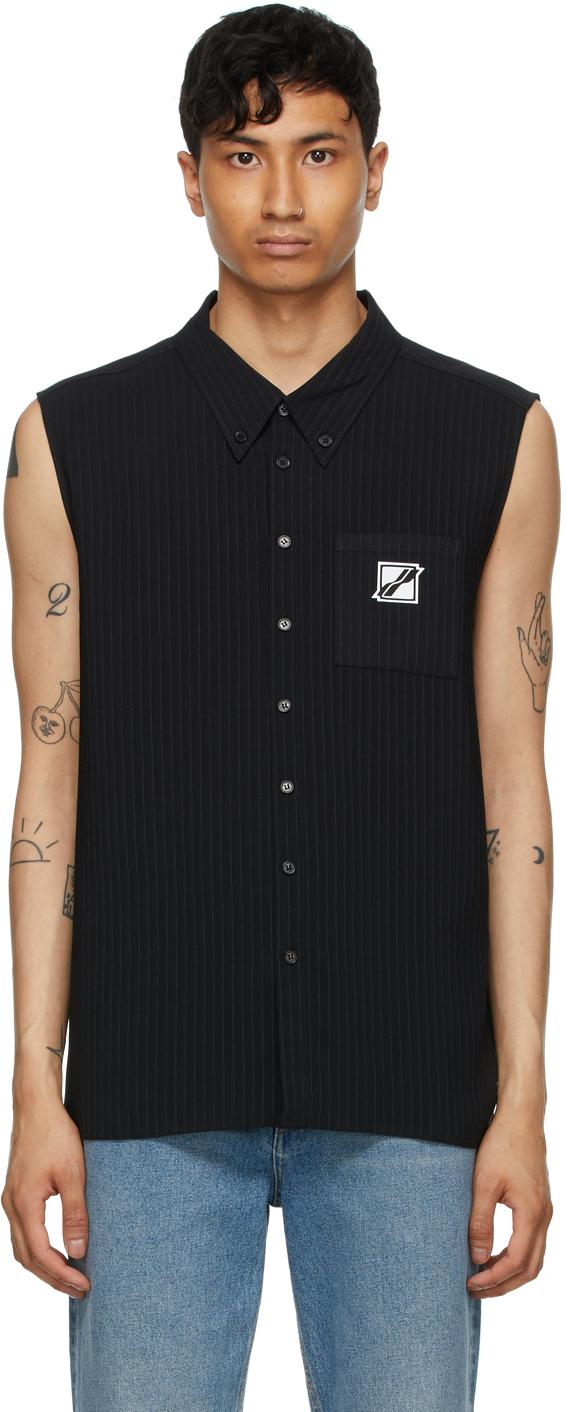 We11done 黑色条纹无袖衬衫