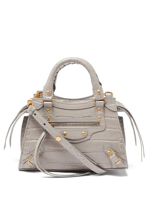 Balenciaga - Neo Classic City Mini Crocodile-effect Leather Bag - Womens - Light Grey