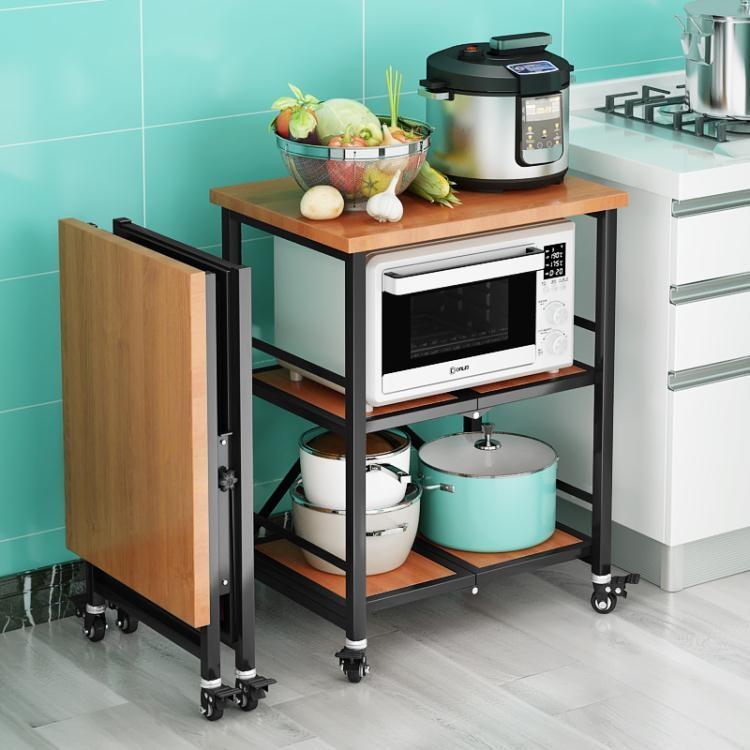 免安裝摺疊不銹鋼廚房置物架可行動多層落地微波爐烤箱放鍋收納架