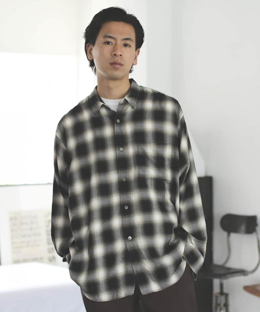 BEAMS / 男裝 OMBRE 格紋 休閒襯衫