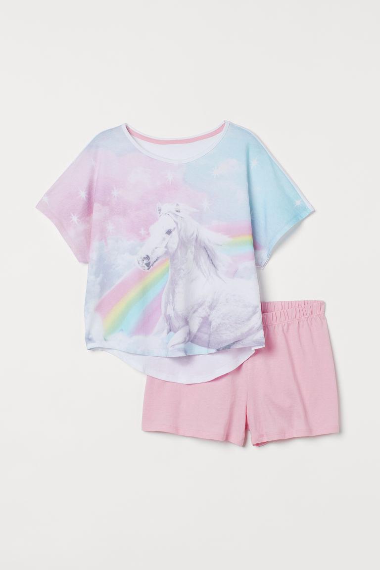 H & M - 配短褲睡衣套裝 - 白色