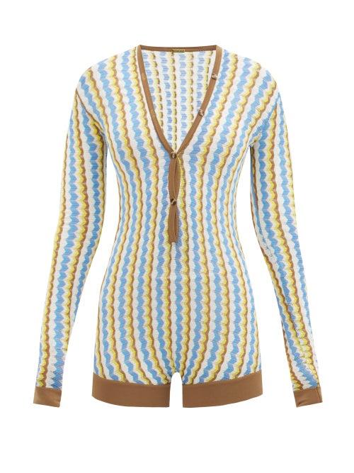 Dodo Bar Or - Shiya Zigzag-striped Bodysuit - Womens - Blue Multi