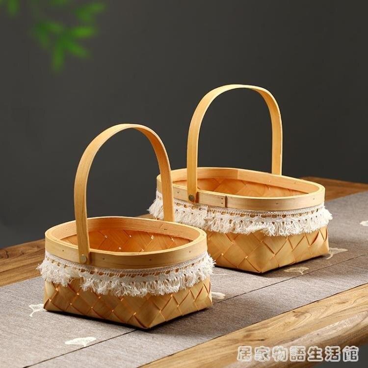 日式木片手工編織籃子 面包水果野餐提籃 家用客廳零食雜物收納筐 果果輕時尚